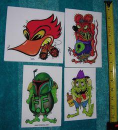 Monster Art Sticker lot Scheres Fett Fink Rat Fink Mr. Moonshine Hillbilly Roadrunner rat rod Free shipping by Scheres on Etsy