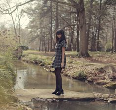Liebemarlene Dress - Cotton Plaid Day Dress with Flatter Sleeves, Pleated Skirt and Detachable Sash. $70.00, via Etsy.