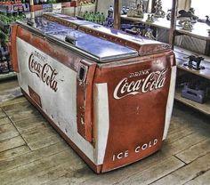 Vintage Coke Cooler (still works!) in General Store -