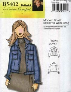 d7736d18a0c Butterick Sewing Pattern 5402 B5402 Misses Sizes 3-16 Connie Crawford  Classic Blue Jean Jacket. Types Of PatternsPlus Size ...