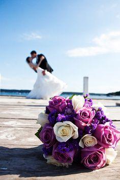 Pretty purple bouquet on dock