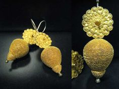 Africa | Earrings from the Akan people of the Ivory Coast | 19th century | Gold | Price on request