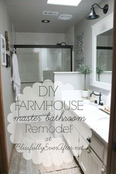 Browse farmhouse bathroom designs and decorating ideas. Discover inspiration for your country bathroom remodel, including colors, storage, layouts and organization. #farmhouse #bathroom #farmhousebathroom