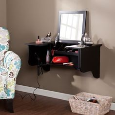 Hair? Check. Makeup? Check. Get ready for your busy day with this compact vanity ledge. Space saving design features an assortment of storage plus hair dryer holsters for a simple solution to organizing makeup, hair accessories, styling tools, or even jewelry – all in one convenient place. #WallMountLedge http://fancy.to/ut422w