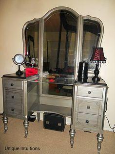 Aged Silver Gothic Victorian Vanity Tutorial #gothic #diy #vanity #gothicvanity…