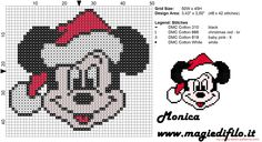 Christmas Mickey Mouse face cross stitch pattern.  Would be cute for crochet afghan