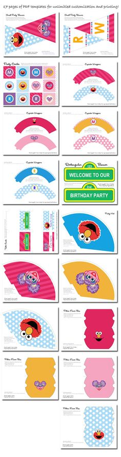 Abby and Elmo Birthday Party Printables With by Tinyprintables