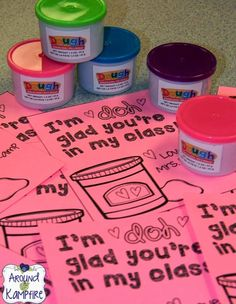 "FREE printable student valentines from the teacher~ I'm ""doh"" glad you're in my class! I pass these out with Play Doh from the dollar store.  Later we do math activities with the Play Doh!"