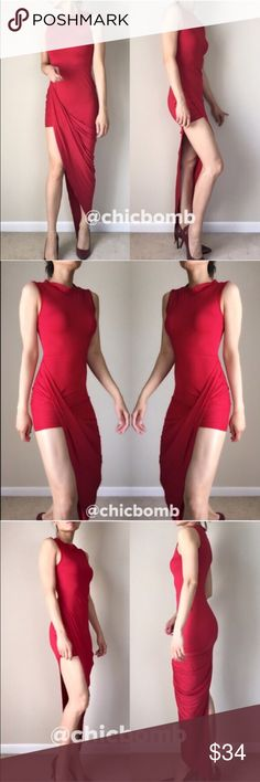 """Red bodycon high cut long dress. Misty high cut long dress with full length tail. A dress that will transform your look . 95% polyester 5% spandex .  Size M/6 Total length on long tail; 58"""", BUST;30-36"""", waist : 25-26.5 """" Hips 34-36"""". Size 8/L:62"""" tail,  bust 32-37"""", waist:26-28"""" hips: 35""""-38"""" all measurement in inches and flat lay relax.Hand wash and low heat on iron. Follow me on  INSTAGRAM: @chic_bomb  and FACEBOOK: @thechicbomb CHICBOMB Dresses High Low"""