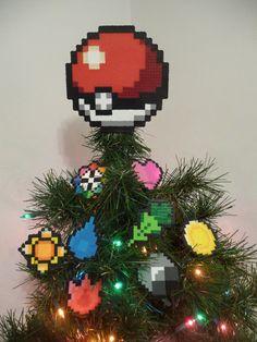 Pokemon Pokeball Perler Bead Christmas Tree Topper by LighterCases, $55.00