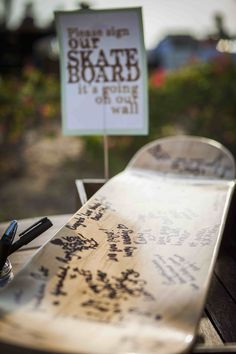 DIY Skateboard guestbook, wedding guestbook - my Dubai wedding