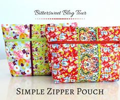 Zippered Pouch tutorial made from Sue Daley's Bittersweet for Riley Blake Designs.