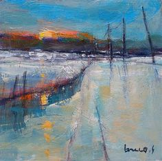 "Daily+Paintworks+-+""Snow+in+fieldmorning""+-+Original+Fine+Art+for+Sale+-+©+salvatore+greco"