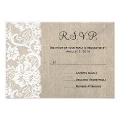 DealsWhite Lace and Burlap Wedding RSVP Card 2This site is will advise you where to buy