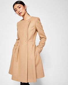 Long pleated coat - Camel | Jackets And Coats | Ted Baker