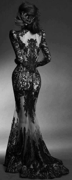 Mermaid/trumpet bateau floor length lace black prom dress with appliques napd0006 sale at shopindress.com