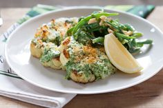 Cauliflower Steaks with Spinach Gratin  & Green Beans. Visit http://www.blueapron.com/ to receive the ingredients.