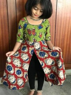 Latest kurti designs for little girls - ArtsyCraftsyDad Girls Frock Design, Kids Frocks Design, Baby Frocks Designs, Baby Dress Design, Kids Indian Wear, Kids Ethnic Wear, Kids Dress Wear, Kids Gown, Kids Wear