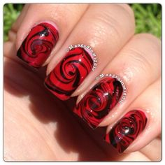 INK361 - Black and red nail art