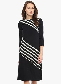 Buy Harpa Black Coloured Striped Shift Drerss for Women Online India, Best Prices, Reviews | HA585WA88WSHINDFAS