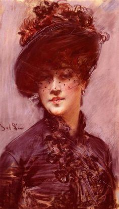 age: Lady with a Black Hat Artist: Giovanni Boldini Style: Realism Genre: portrait Technique: pastel Material: linen Dimensions: 38.1 x 62.2 cm Gallery: Private Collection
