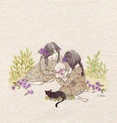 315 images about GreenIvy on We Heart It Sweet Drawings, Cartoon Drawings, Art Anime, Anime Art Girl, Animal Gato, Korean Artist, Children's Book Illustration, Cat Art, Watercolor Art