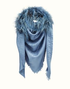FENDI | FASHION SHOW SHAWL in light blue jacquard with fur