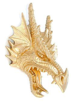Faux Taxidermy Metallic Gold Dragon Head Wall by NearAndDeer