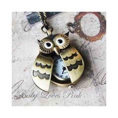 Flappy Wings Owl Locket Watch Necklace