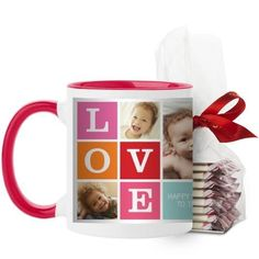 Love Mug, Red, with Ghirardelli Peppermint Bark, 11 oz, Pink