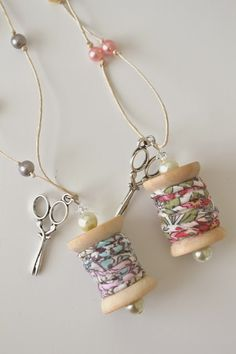 Tea Rose Home: Wooden Spool Necklace