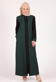 Moda Klas Fermuarlı Zümrüt Ferace modelleri Kollar Siyah 9322