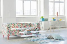 Fun patterns. Klippan sofa cover in Littlephant Saga Forest Red/White. Cushion covers in Littlephant Waves Gray/Gray and Aqua Panama Cotton. www.bemz.com
