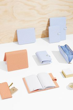 Ice Blue and Peach Seasonal Leather collection// Kikki K// Stationary Supplies, Cute Stationary, Art Supplies, Planners, Cute Notebooks, Stitch Book, Kikki K, Pencil And Paper, Swedish Design