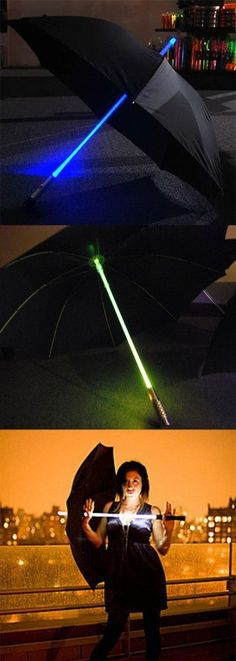 The Lightsaber Umbrella will really make you stand out from the crowd at night with its iridescent glow. This unique umbrella has four different color mode