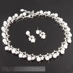 Charming Alloy with Pearl Wedding Jewelry Set : Tidebuy.com