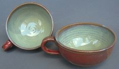 Handled Soup Bowl Iron Red Green Handmade Pottery    I like the red/green combo in this. Oversized pottery soup mugs rock!