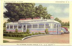 Vintage postcard of Mayflower Diner, Washington, D.C.