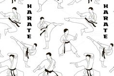 Karate set pattern. Sport Icons. $5.00
