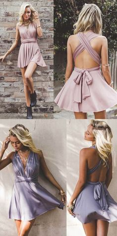 Short Prom Dresses, Prom Dresses Short, Custom Prom Dresses, Custom Made Prom Dresses, Lilac Prom Dresses, Homecoming Dresses Short, Short Homecoming Dresses, V Neck dresses, Short Party Dresses, Criss-Cross Party Dresses, Criss Cross Homecoming Dresses, V-Neck Homecoming Dresses