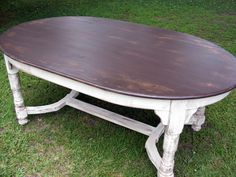 Oval Dining Table Completely Handcrafted Distress Brown Top And Distressed Ivory…