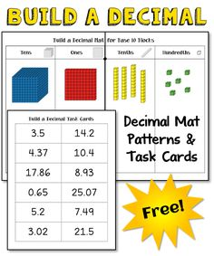 Build a Decimal freebie from Laura Candler! Includes decimal cards and patterns to create the decimal place value mat needed for the activity. Teaching Decimals, Math Fractions, Teaching Math, Dividing Fractions, Equivalent Fractions, Math Literacy, Maths, Fifth Grade Math, Third Grade
