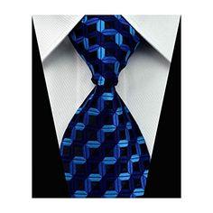 Blue Black Stripe Necktie Mens Tie Cufflinks Hanky Handkerchief Set