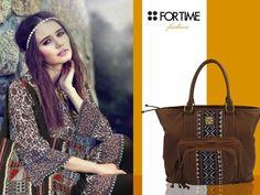 Bolso marrón de ante de la colección Fashion de FOR TIME.