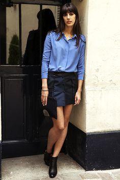 L'Aparté - Collection AH14 - Look I'm your Boss - Chemise & jupe Blue - Wanted Gina www.lapartedescreateurs.com