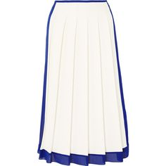 Victoria Beckham Georgette-trimmed pleated crepe midi skirt (18.220.030 VND) ❤ liked on Polyvore featuring skirts, gonne, victoria beckham, white, white midi skirt, white crepe skirt, pleated midi skirt and crepe skirt