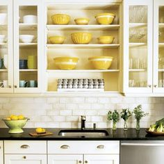white with yellow | ... sunny kitchen with white cupboards and yellow paint- so gorgeous. reminds me of Aunt Lucille's farm house kitchen