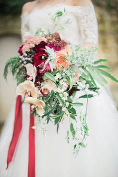 Peach, Coral, Pink, Fuchsia, Red & Burgundy Wedding Bouquet by Westwood Design   Jacob & Pauline Photography   Pretty in White Films