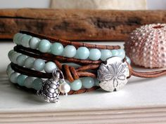 Sea Blue Green Amazonite Leather Wrap Bracelet with turtle and pearl on Etsy, $45.00