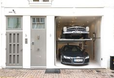 Love the stackable garage in this converted mews house in South Kensington, London, England. Love Your Home, My Dream Home, Interior Architecture, Interior And Exterior, Mews House, Brick And Mortar, Dream Garage, Garage House, House Goals